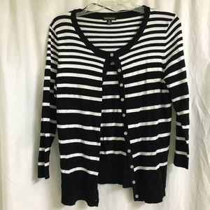 Black & White Striped Cardigan by George Size M